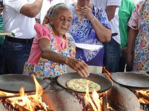 Modesta Chavarria competing at the Tortilla Festival in Nicoya. Photo credit ticoclub.